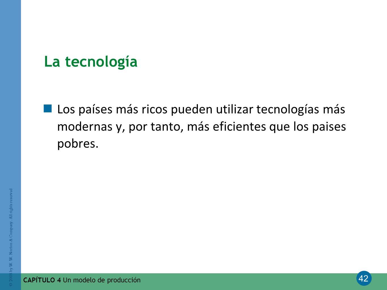 La tecnología Los países más ricos pueden utilizar tecnologías más modernas y, por tanto, más eficientes que los paises pobres.