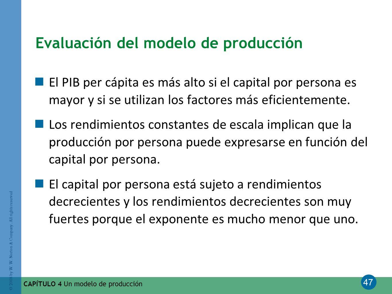 Evaluación del modelo de producción
