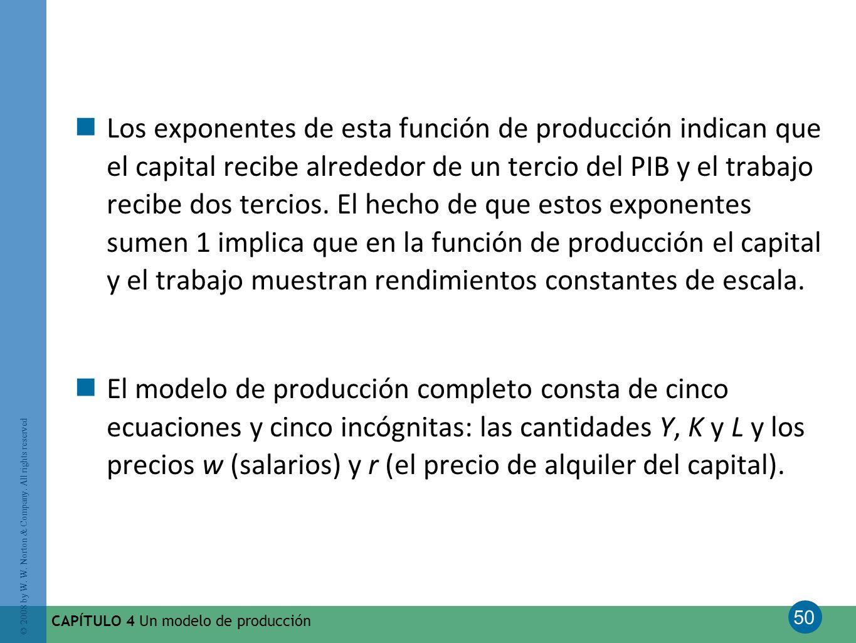 Los exponentes de esta función de producción indican que el capital recibe alrededor de un tercio del PIB y el trabajo recibe dos tercios. El hecho de que estos exponentes sumen 1 implica que en la función de producción el capital y el trabajo muestran rendimientos constantes de escala.