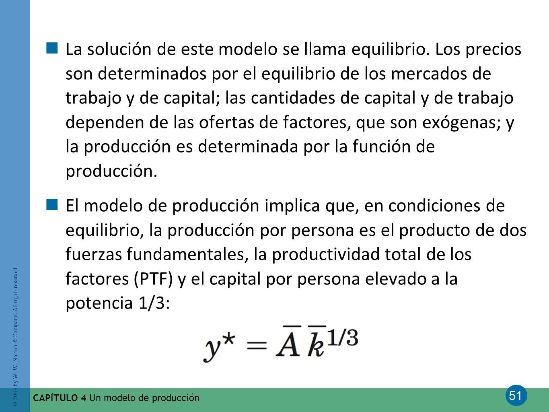 La solución de este modelo se llama equilibrio