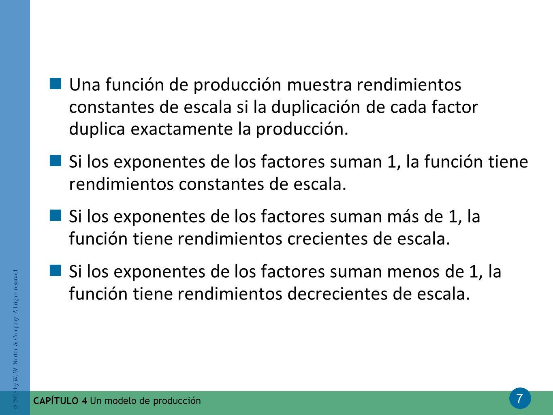 Una función de producción muestra rendimientos constantes de escala si la duplicación de cada factor duplica exactamente la producción.