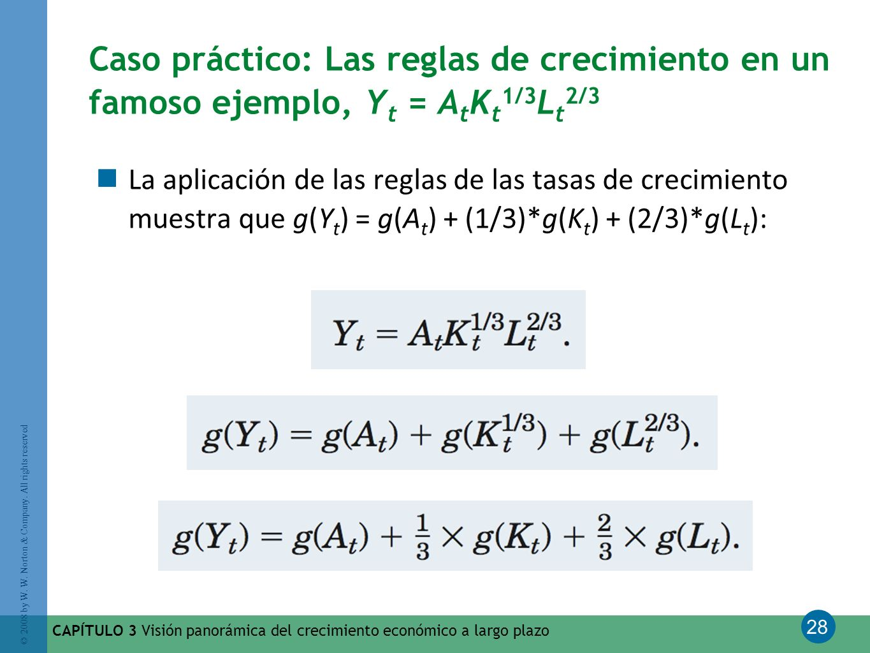 Caso práctico: Las reglas de crecimiento en un famoso ejemplo, Yt = AtKt1/3Lt2/3