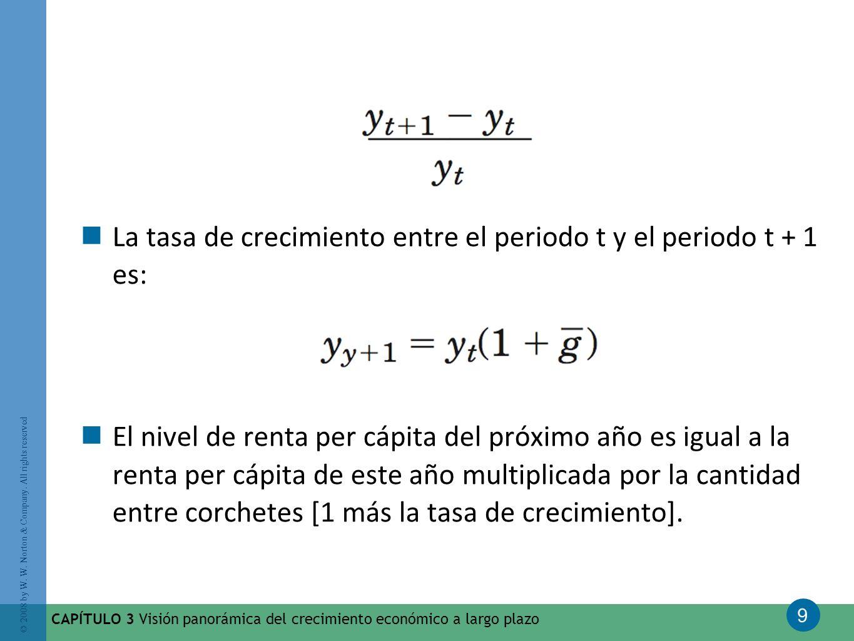 La tasa de crecimiento entre el periodo t y el periodo t + 1 es: