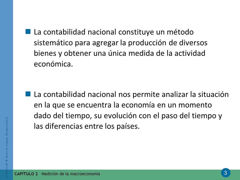La contabilidad nacional constituye un método sistemático para agregar la producción de diversos bienes y obtener una única medida de la actividad económica.