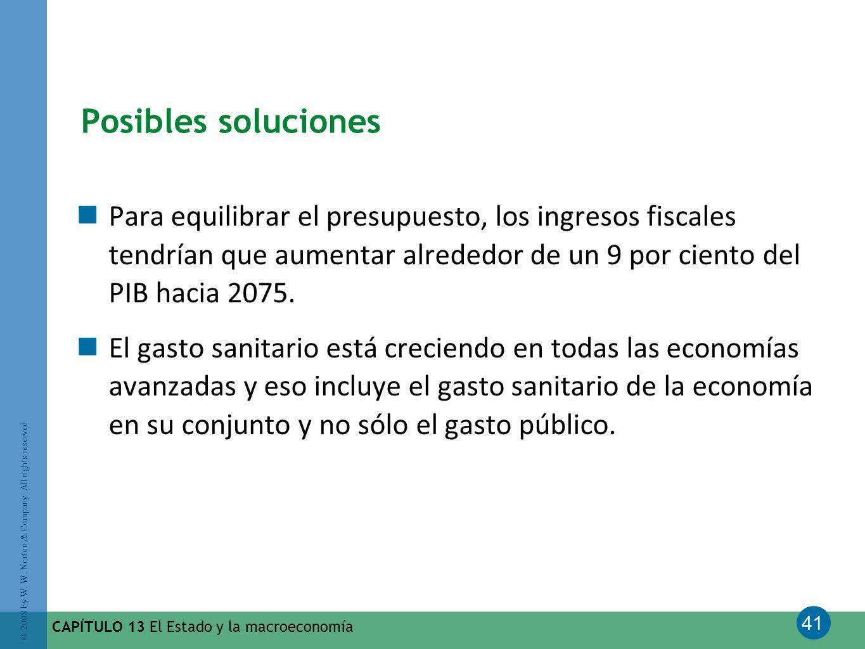 Posibles soluciones Para equilibrar el presupuesto, los ingresos fiscales tendrían que aumentar alrededor de un 9 por ciento del PIB hacia 2075.