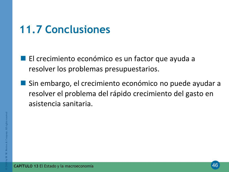 11.7 Conclusiones El crecimiento económico es un factor que ayuda a resolver los problemas presupuestarios.