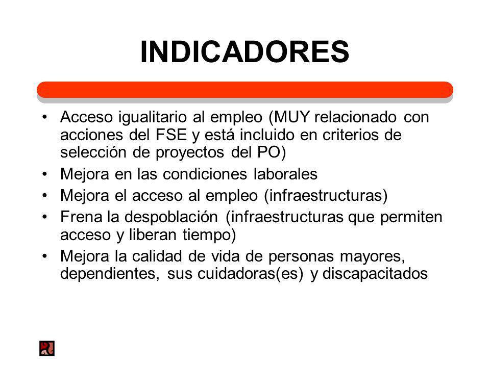 INDICADORESAcceso igualitario al empleo (MUY relacionado con acciones del FSE y está incluido en criterios de selección de proyectos del PO)