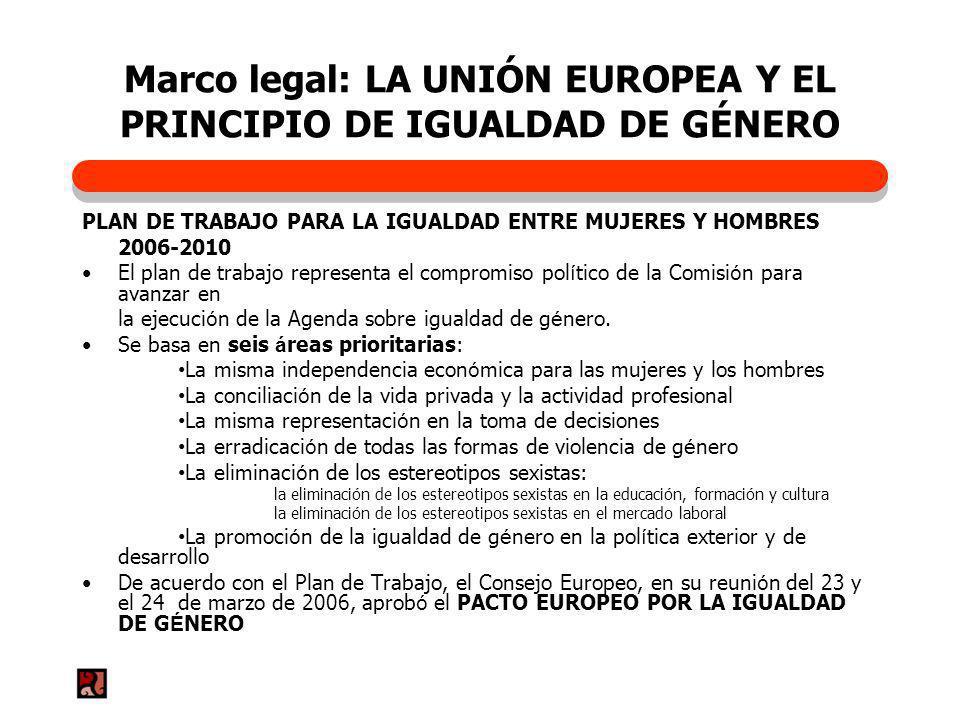 Marco legal: LA UNIÓN EUROPEA Y EL PRINCIPIO DE IGUALDAD DE GÉNERO