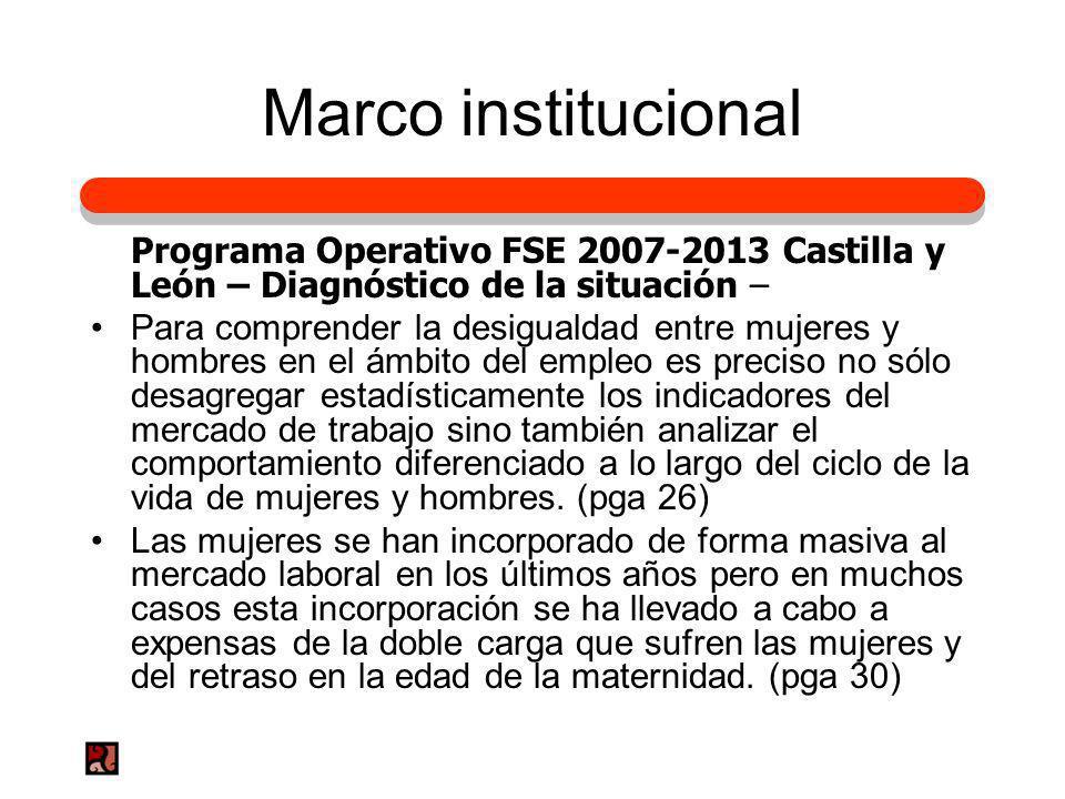 Marco institucional Programa Operativo FSE 2007-2013 Castilla y León – Diagnóstico de la situación –