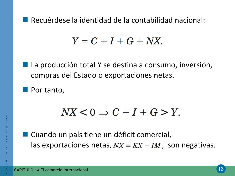 Recuérdese la identidad de la contabilidad nacional: