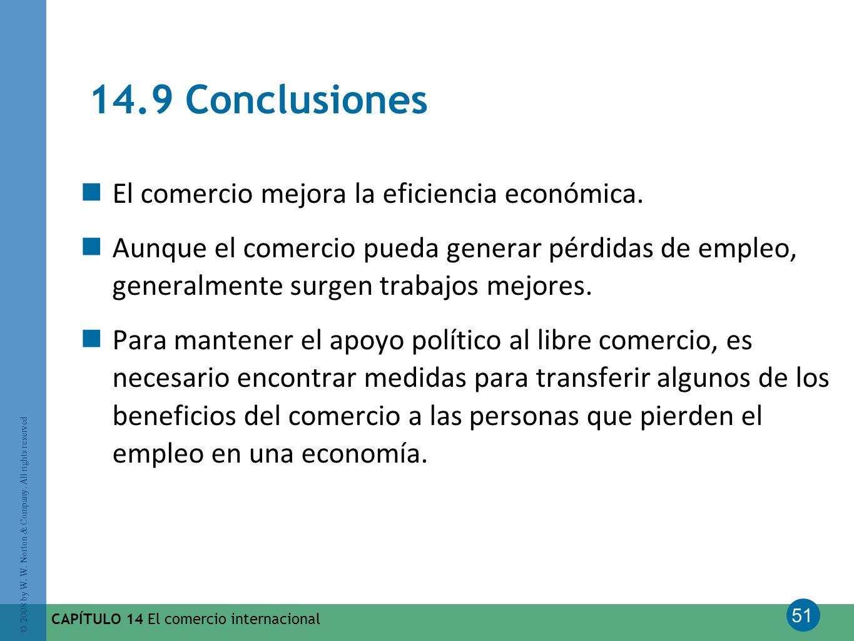 14.9 Conclusiones El comercio mejora la eficiencia económica.