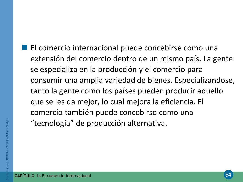 El comercio internacional puede concebirse como una extensión del comercio dentro de un mismo país. La gente se especializa en la producción y el comercio para consumir una amplia variedad de bienes. Especializándose, tanto la gente como los países pueden producir aquello que se les da mejor, lo cual mejora la eficiencia. El comercio también puede concebirse como una tecnología de producción alternativa.