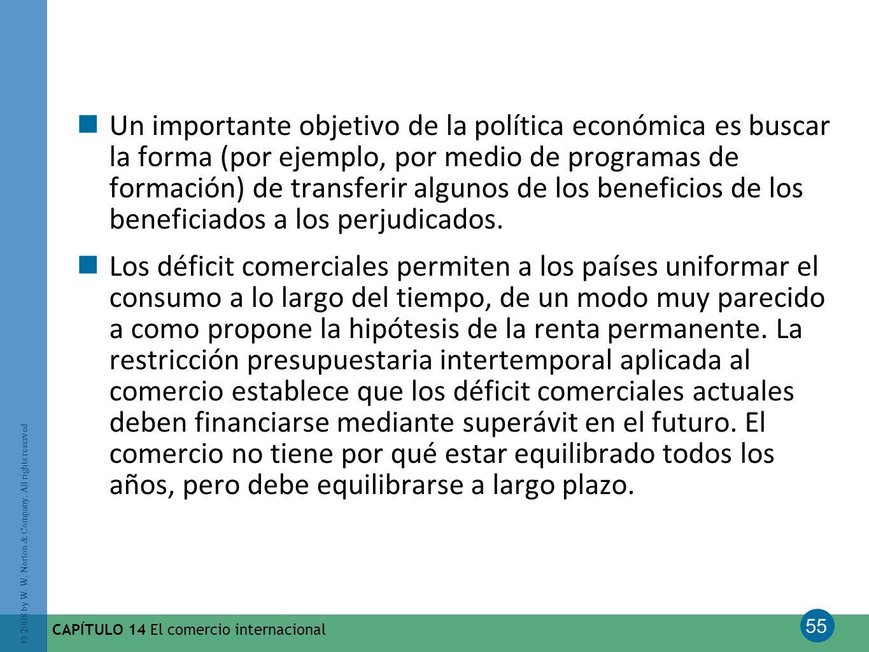 Un importante objetivo de la política económica es buscar la forma (por ejemplo, por medio de programas de formación) de transferir algunos de los beneficios de los beneficiados a los perjudicados.