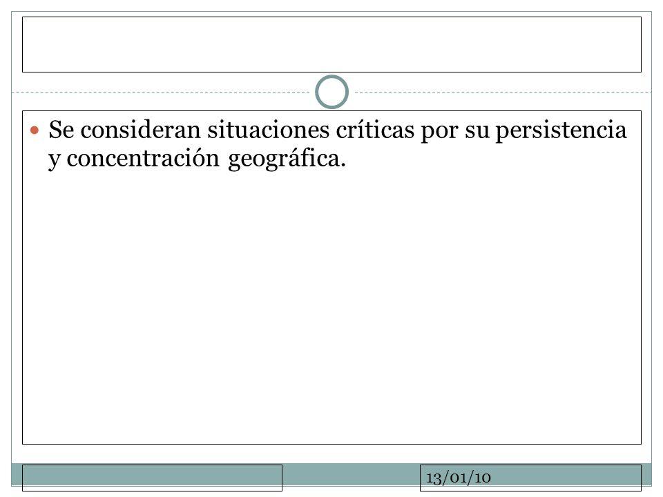 Se consideran situaciones críticas por su persistencia y concentración geográfica.