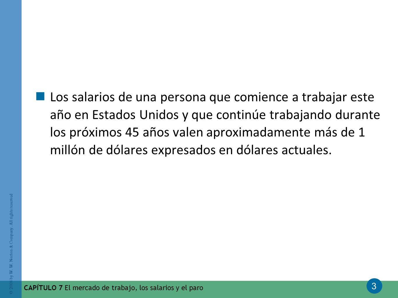 Los salarios de una persona que comience a trabajar este año en Estados Unidos y que continúe trabajando durante los próximos 45 años valen aproximadamente más de 1 millón de dólares expresados en dólares actuales.