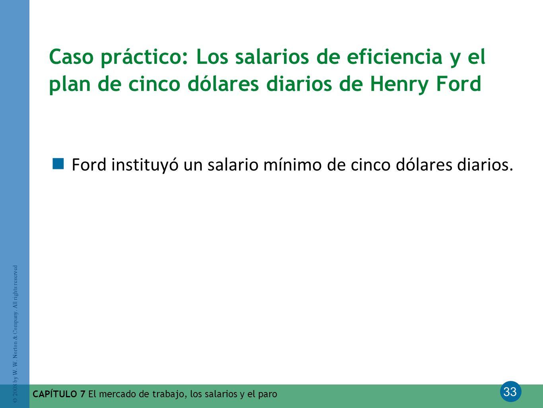 Caso práctico: Los salarios de eficiencia y el plan de cinco dólares diarios de Henry Ford