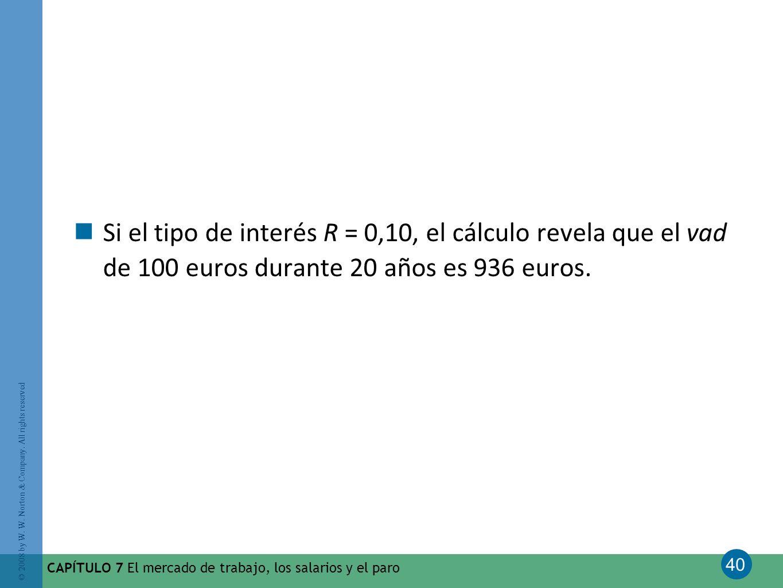 Si el tipo de interés R = 0,10, el cálculo revela que el vad de 100 euros durante 20 años es 936 euros.