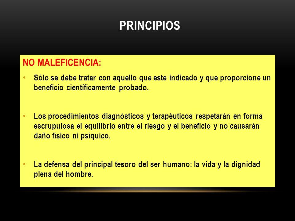 PRINCIPIOS NO MALEFICENCIA: