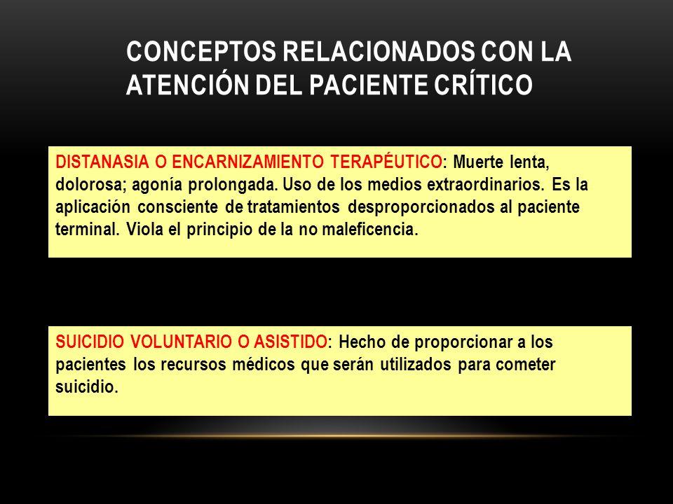 Conceptos relacionados con la atención del paciente crítico
