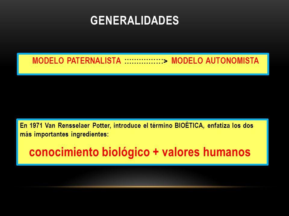 conocimiento biológico + valores humanos