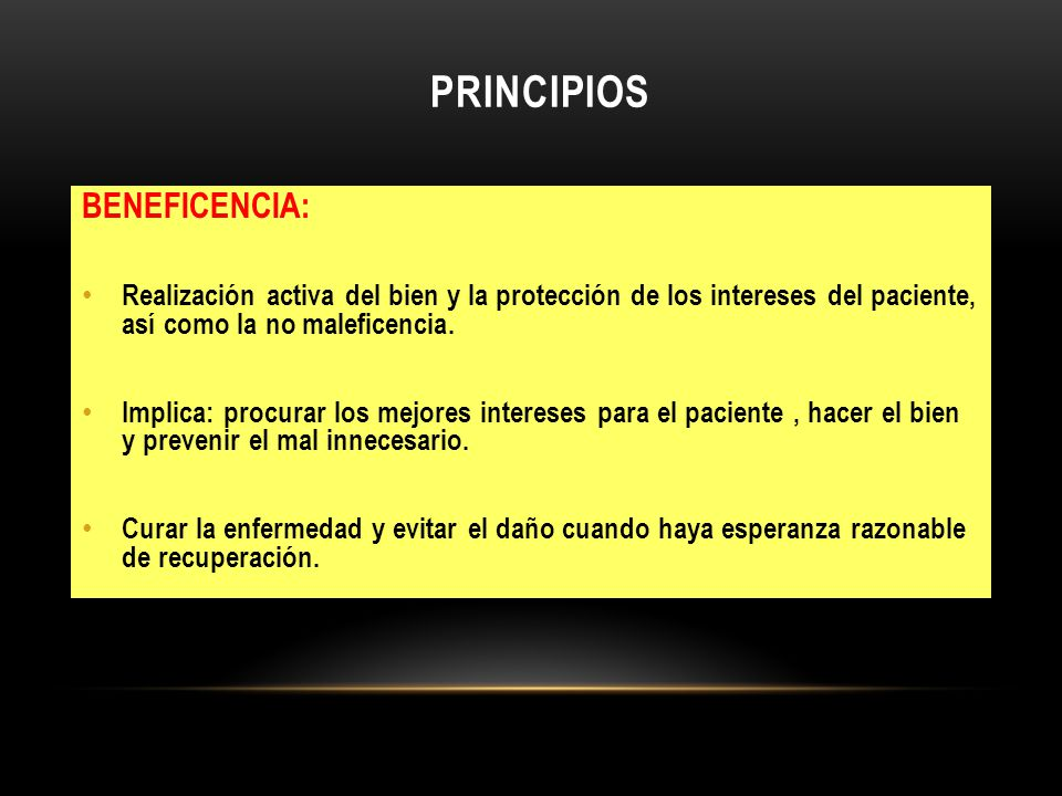 PRINCIPIOS BENEFICENCIA: