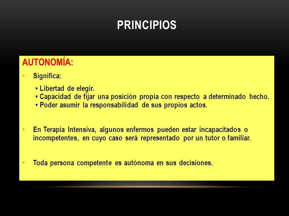 PRINCIPIOS AUTONOMÍA: Significa:
