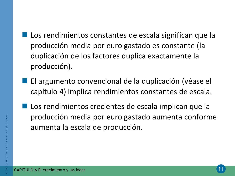 Los rendimientos constantes de escala significan que la producción media por euro gastado es constante (la duplicación de los factores duplica exactamente la producción).