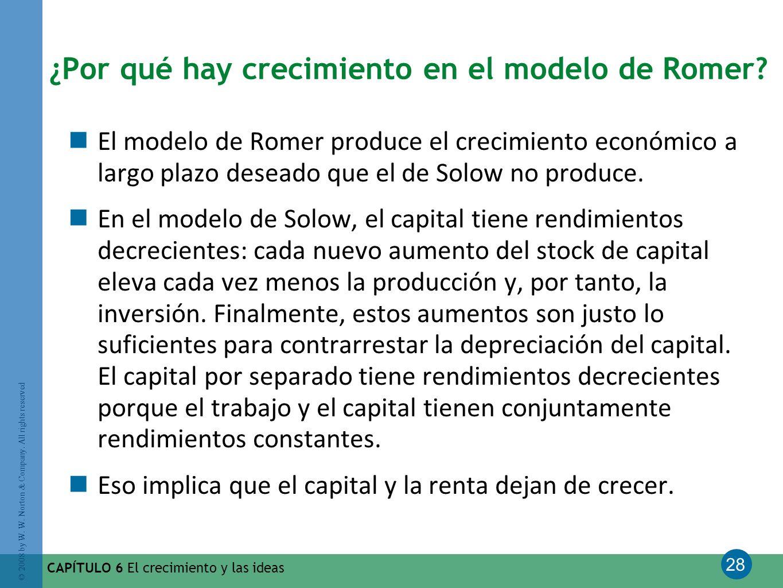 ¿Por qué hay crecimiento en el modelo de Romer