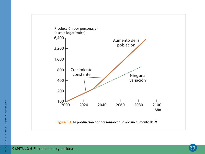 Figura 6.3 La producción por persona después de un aumento de N