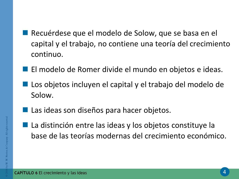 El modelo de Romer divide el mundo en objetos e ideas.