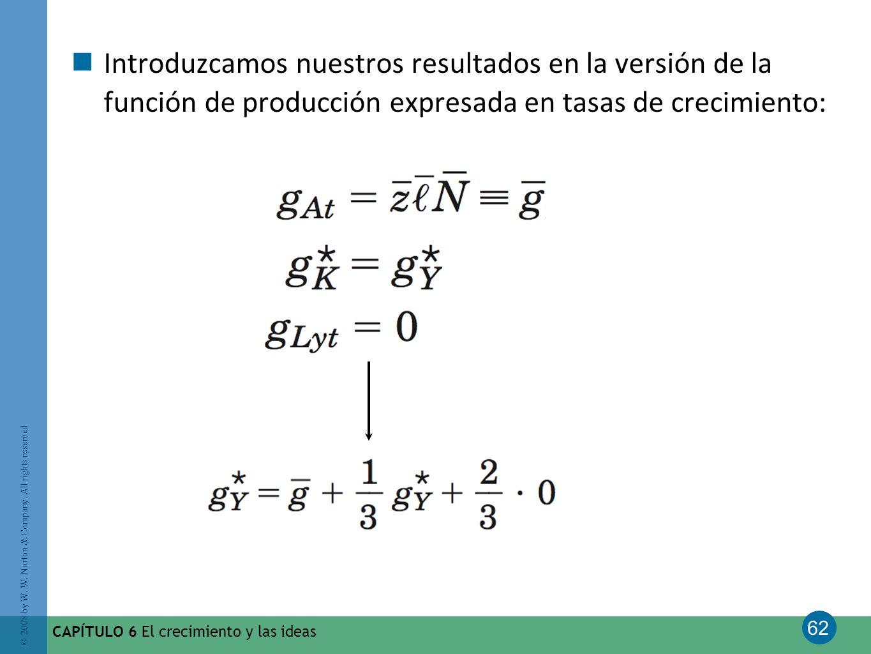 Introduzcamos nuestros resultados en la versión de la función de producción expresada en tasas de crecimiento: