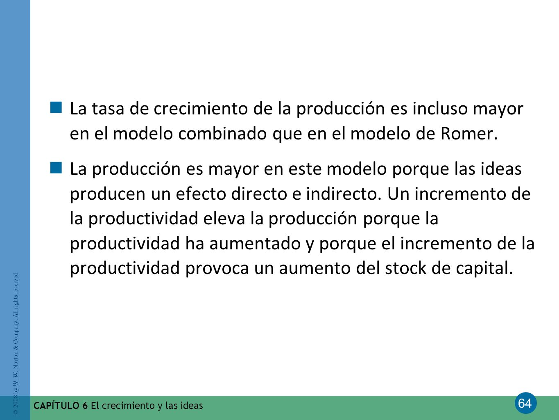 La tasa de crecimiento de la producción es incluso mayor en el modelo combinado que en el modelo de Romer.
