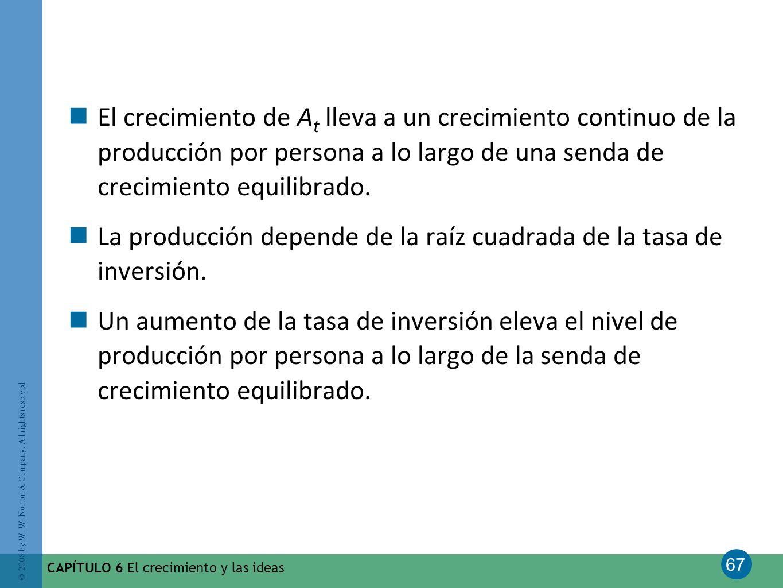 La producción depende de la raíz cuadrada de la tasa de inversión.