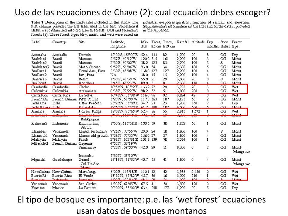 Uso de las ecuaciones de Chave (2): cual ecuación debes escoger