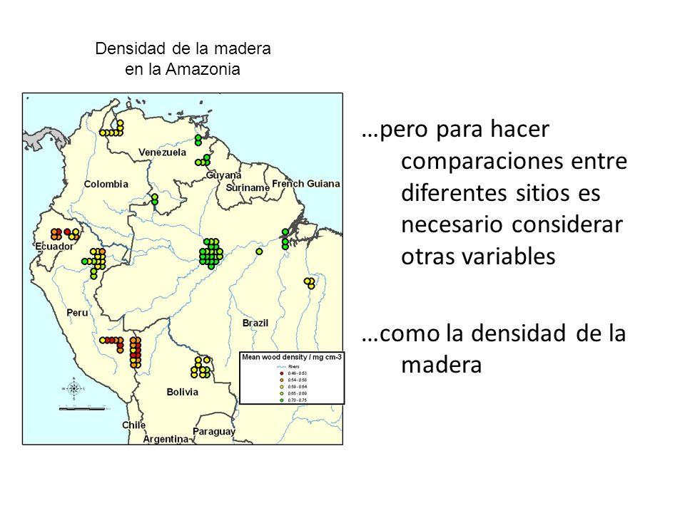 Densidad de la madera en la Amazonia