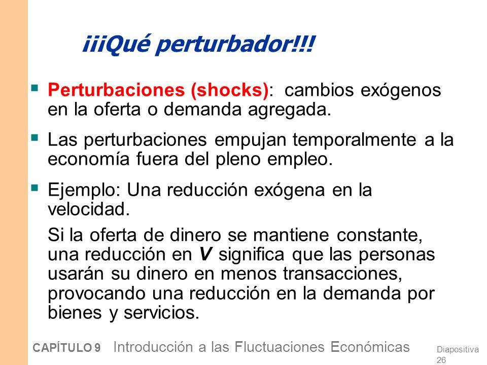 ¡¡¡Qué perturbador!!! Perturbaciones (shocks): cambios exógenos en la oferta o demanda agregada.