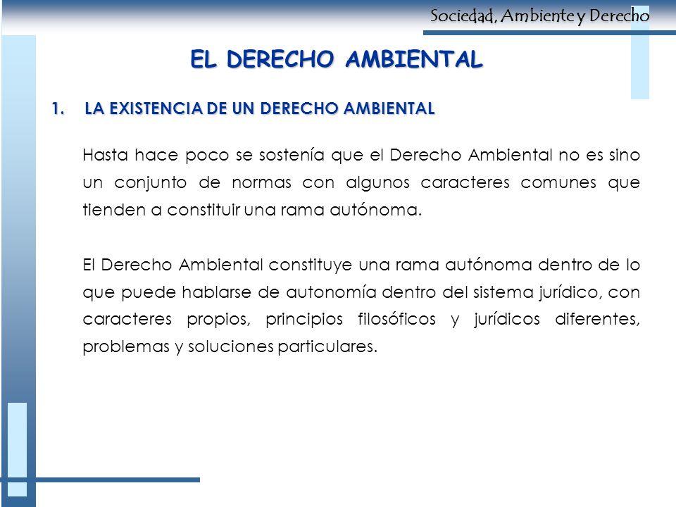 EL DERECHO AMBIENTAL Sociedad, Ambiente y Derecho