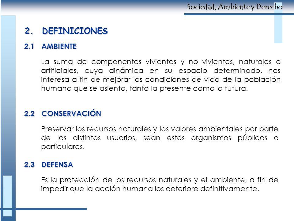 2. DEFINICIONES Sociedad, Ambiente y Derecho 2.1 AMBIENTE