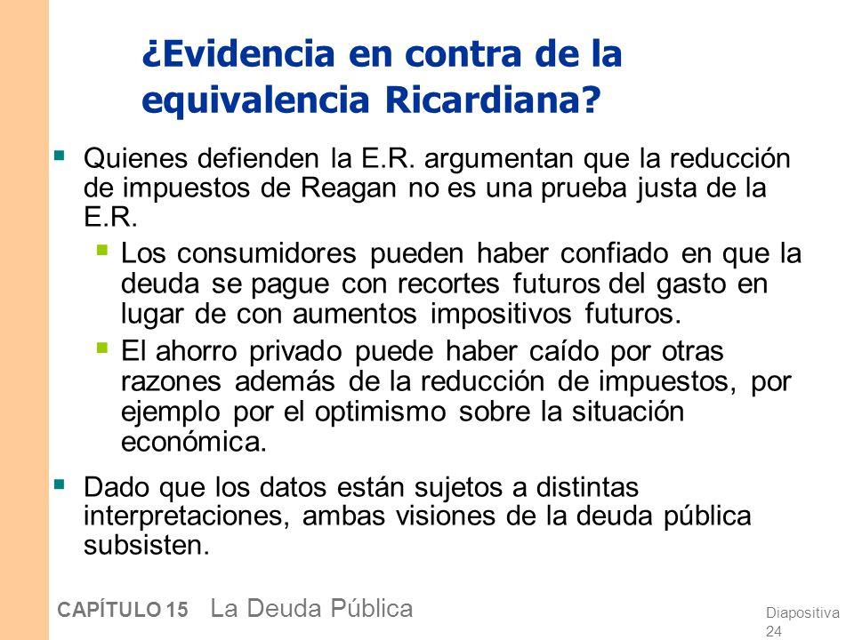 ¿Evidencia en contra de la equivalencia Ricardiana
