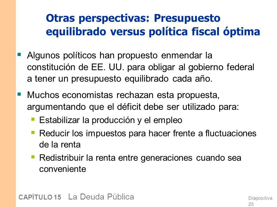 Otras perspectivas: Presupuesto equilibrado versus política fiscal óptima