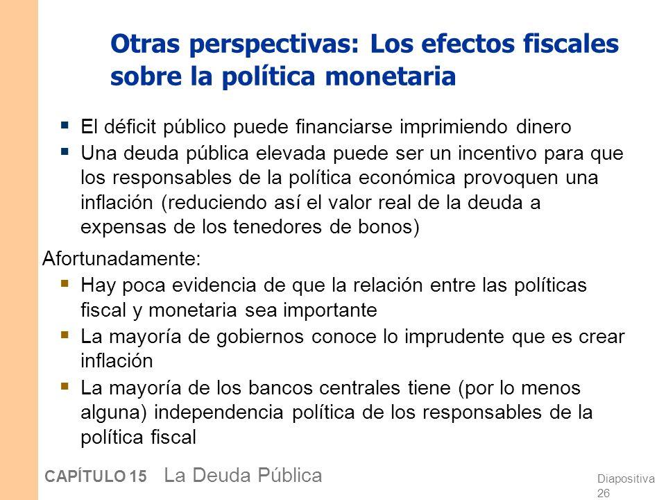 Otras perspectivas: Los efectos fiscales sobre la política monetaria