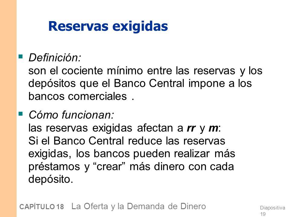Reservas exigidas Definición: son el cociente mínimo entre las reservas y los depósitos que el Banco Central impone a los bancos comerciales .