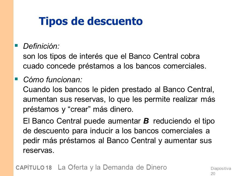Tipos de descuento Definición: son los tipos de interés que el Banco Central cobra cuado concede préstamos a los bancos comerciales.