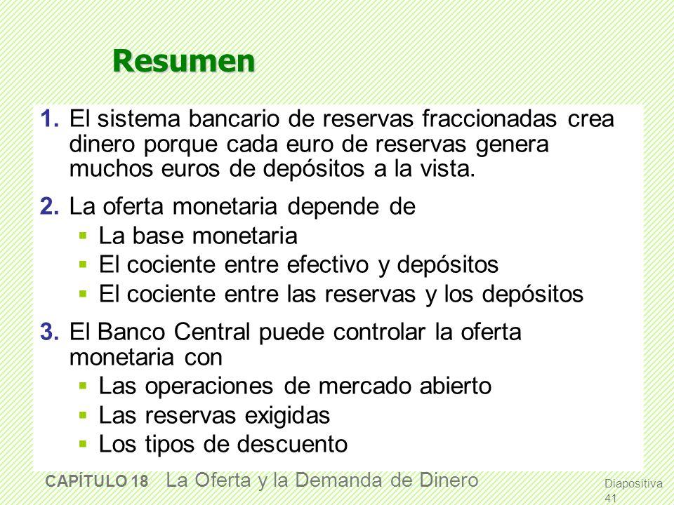 Resumen 1. El sistema bancario de reservas fraccionadas crea dinero porque cada euro de reservas genera muchos euros de depósitos a la vista.