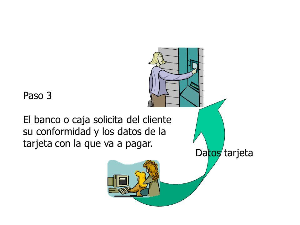 Paso 3 El banco o caja solicita del cliente su conformidad y los datos de la tarjeta con la que va a pagar.