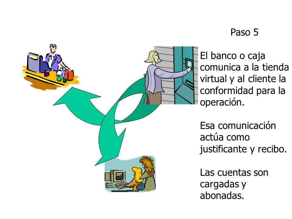 Paso 5 El banco o caja comunica a la tienda virtual y al cliente la conformidad para la operación.