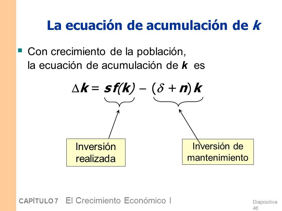La ecuación de acumulación de k
