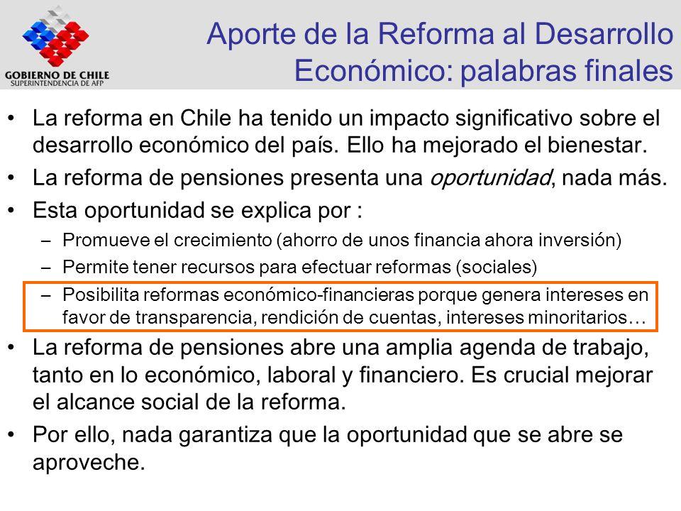 Aporte de la Reforma al Desarrollo Económico: palabras finales