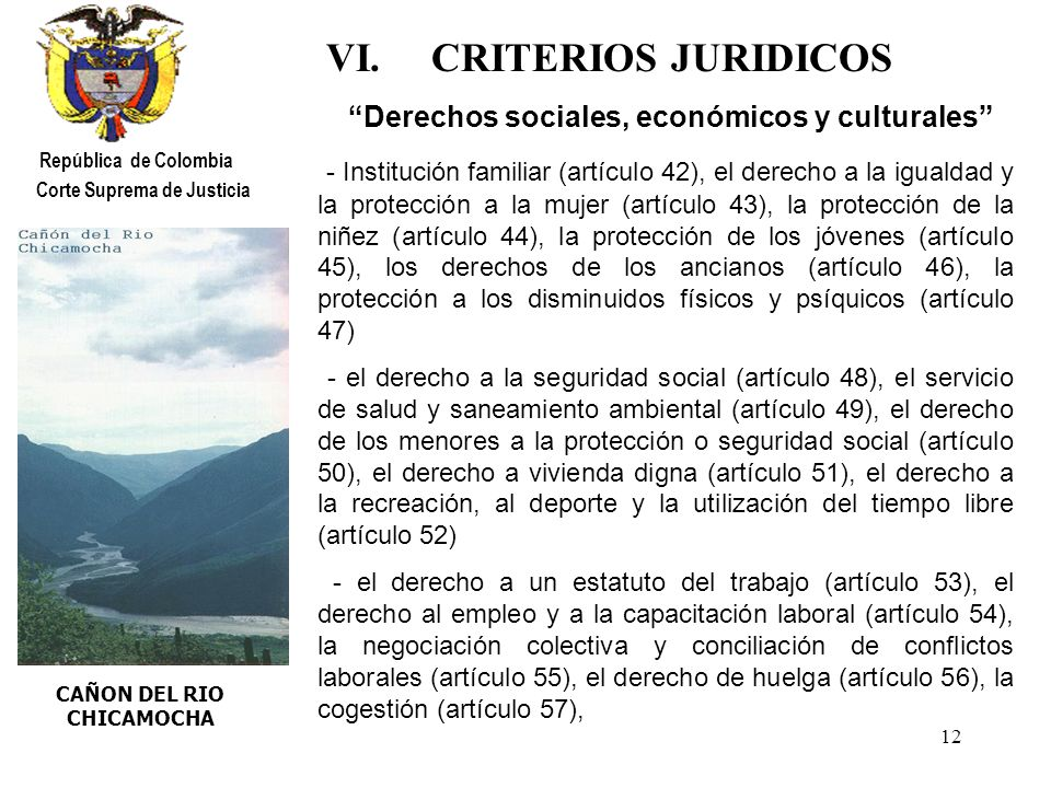 VI. CRITERIOS JURIDICOS