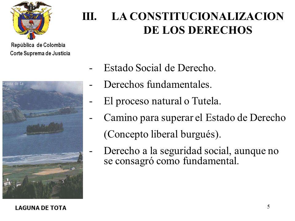III. LA CONSTITUCIONALIZACION DE LOS DERECHOS
